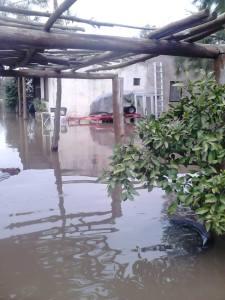 Imagen de la inundación en areco. Foto : Maria del Monte